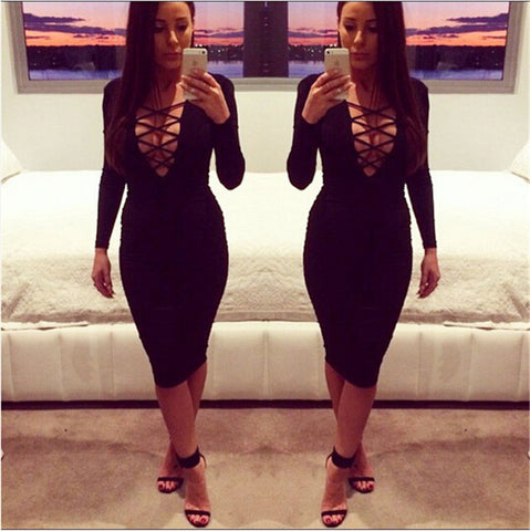 Cross Neck Bandage Bodycon Knee-length Club Dress - MeetYoursFashion - 2