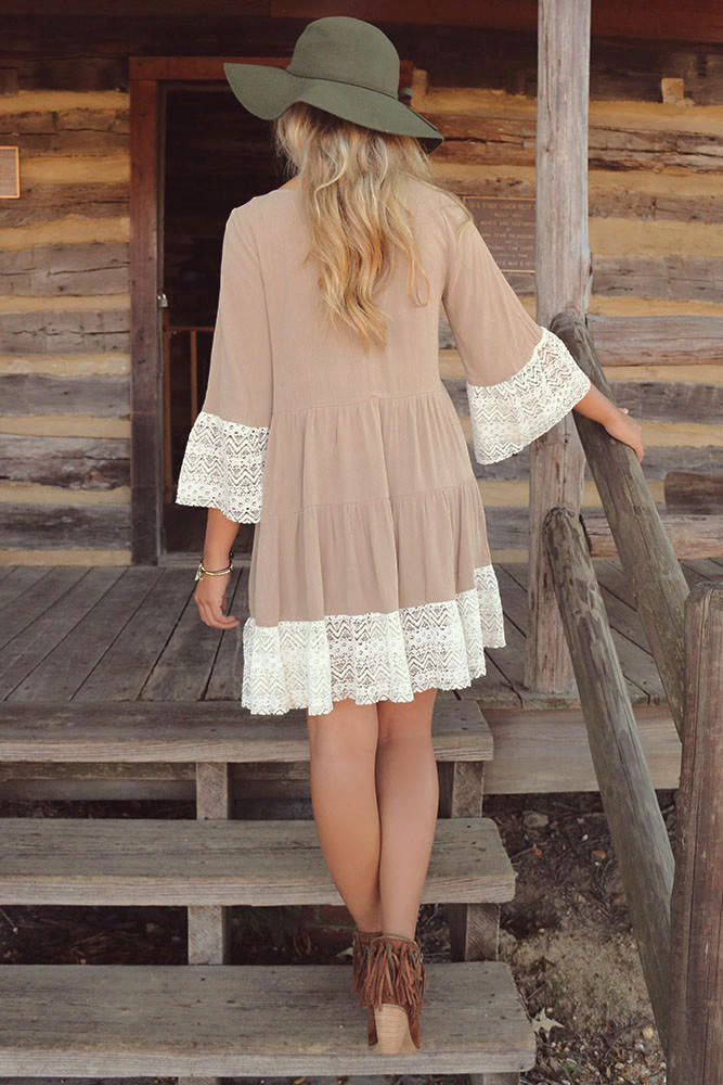 3/4 Sleeves Solid Color Scoop Lace Splicing Short Dress - Meet Yours Fashion - 5