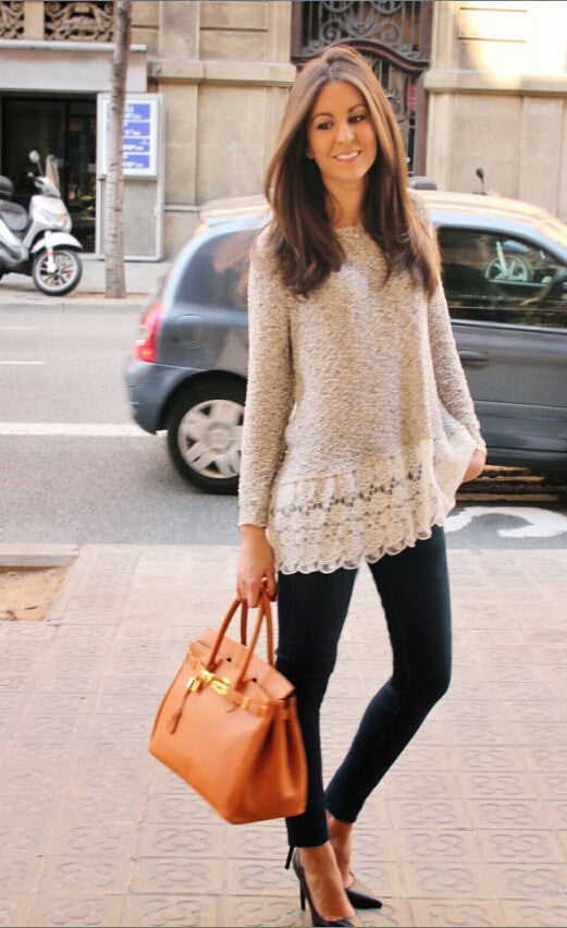 Lace Trim Pure Color Loose Knit Sweater - Meet Yours Fashion - 2