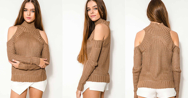 Bear Shoulder High Collar Hollow Pure Color Sexy Sweater - Meet Yours Fashion - 8