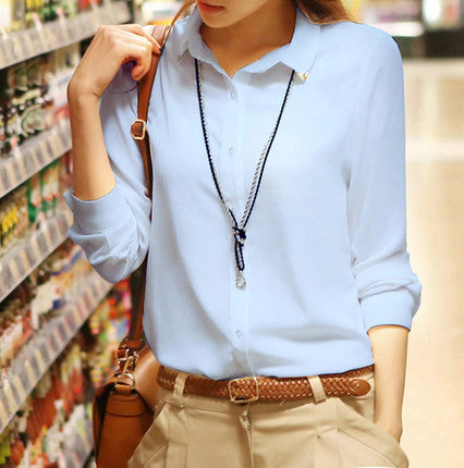 Pure Collar OL Turn-down Collar Slim Long Sleeves Blouse - Meet Yours Fashion - 7