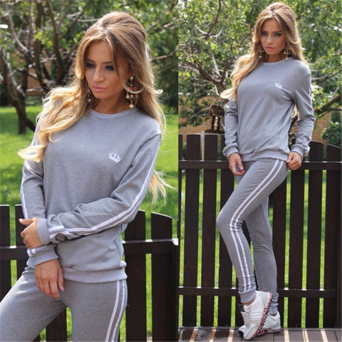 Casual Splicing Long Sleeves T-shirt with Pants Sports Suit Activewear - Meet Yours Fashion - 2
