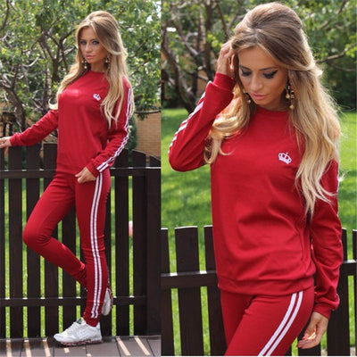 Casual Splicing Long Sleeves T-shirt with Pants Sports Suit Activewear - Meet Yours Fashion - 5