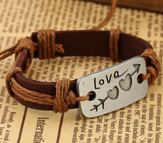 Arrow Through Heart LOVE Leather Bracelet