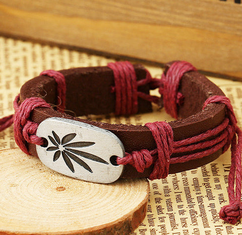 Retro Carving Leaves Woven Bracelet