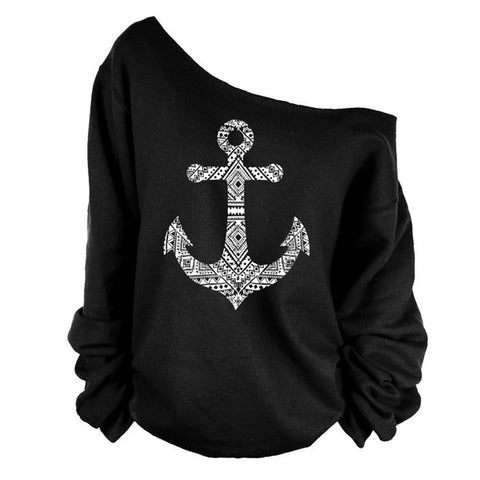 Fashion Anchor Print Skew Neck Sweatshirt T-shirt - MeetYoursFashion - 1