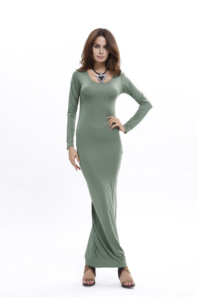 Elegant Pure Color Long Sleeve Scoop Long Bodycon Dress