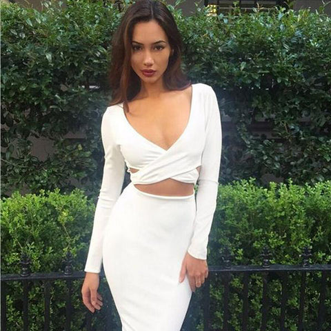 Hollow Out V-neck Bandage Bodycon Dress