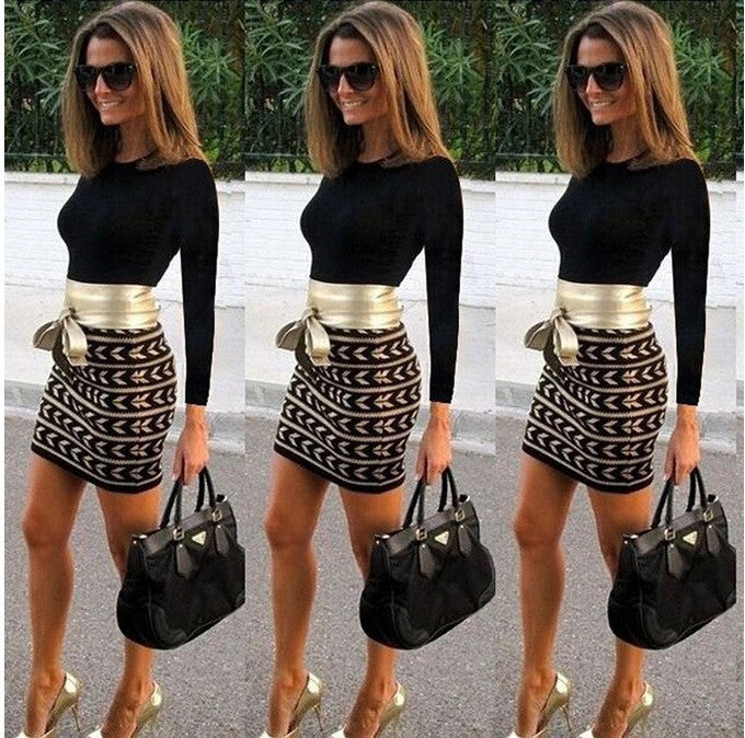 Sexy Print Patchwork Bodycon Mini Office Dress - MeetYoursFashion - 3
