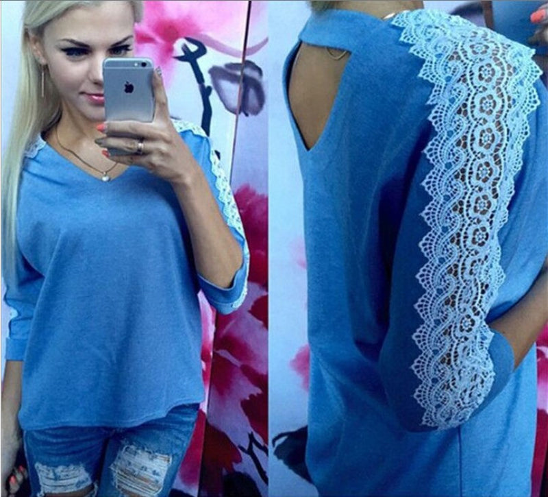 Hollow Out Lace Patchwork Scoop 3/4 Sleeves Loose Blouse - Meet Yours Fashion - 2