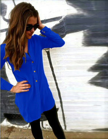 V-neck Pure Color Long Sleeves Long Chiffon Blouse - Meet Yours Fashion - 5
