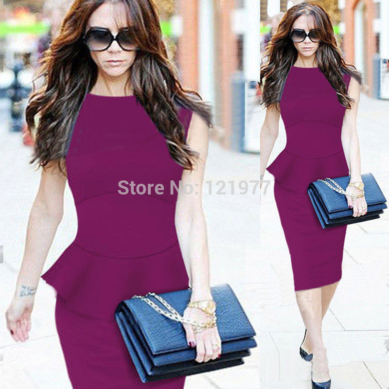 Pure Color Sleeveless Bobycon Knee-Length Office Dress - Meet Yours Fashion - 4