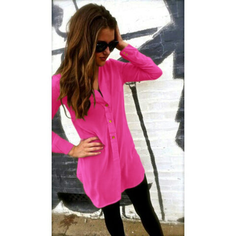 V-neck Pure Color Long Sleeves Long Chiffon Blouse - Meet Yours Fashion - 4