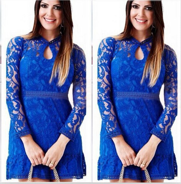 Lace Hollow Out Long Sleeves Mini Party Dress - Meet Yours Fashion - 3