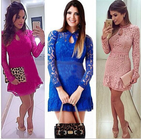 Lace Hollow Out Long Sleeves Mini Party Dress - Meet Yours Fashion - 8