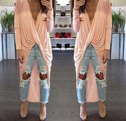 Deep V-neck Bandage Irregular Long Dress - MeetYoursFashion - 1