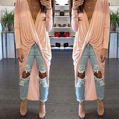 Deep V-neck Bandage Irregular Long Dress