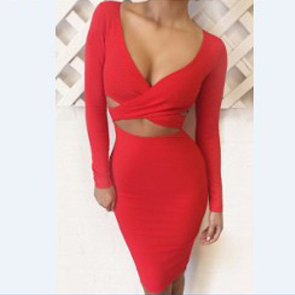 Hollow Out V-neck Bandage Bodycon Dress - MeetYoursFashion - 2