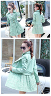 Free Shipping Clearence Double Breasted Lapel Lace Print Long Coat