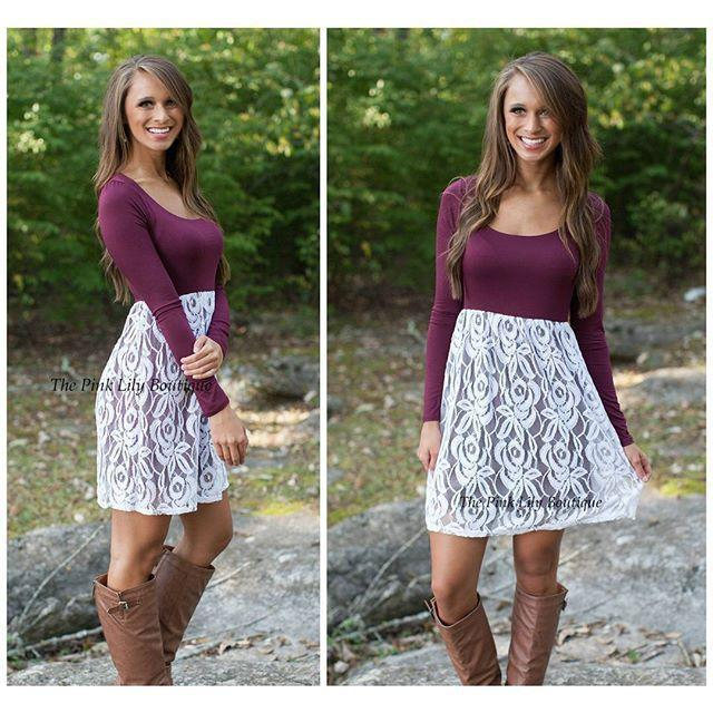 Slim Lace Floral Spicing O-neckLong Sleeve Short Dress - Meet Yours Fashion - 2