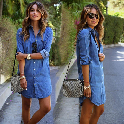 Casual Long Sleeve Loose Long Style Denim Dress - May Your Fashion - 1