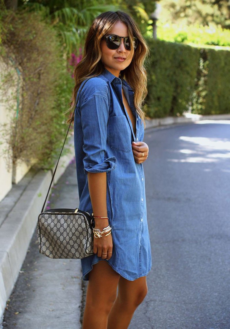 Casual Long Sleeve Loose Long Style Denim Dress - May Your Fashion - 2
