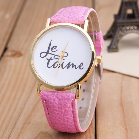 Letter Print PU Strap Watch