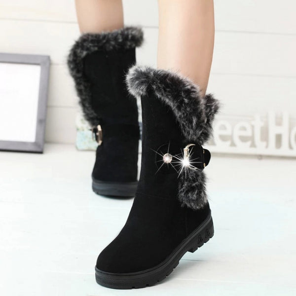 Faux Fur Decorate Round Toe Chunky Heel Long Snow Boots