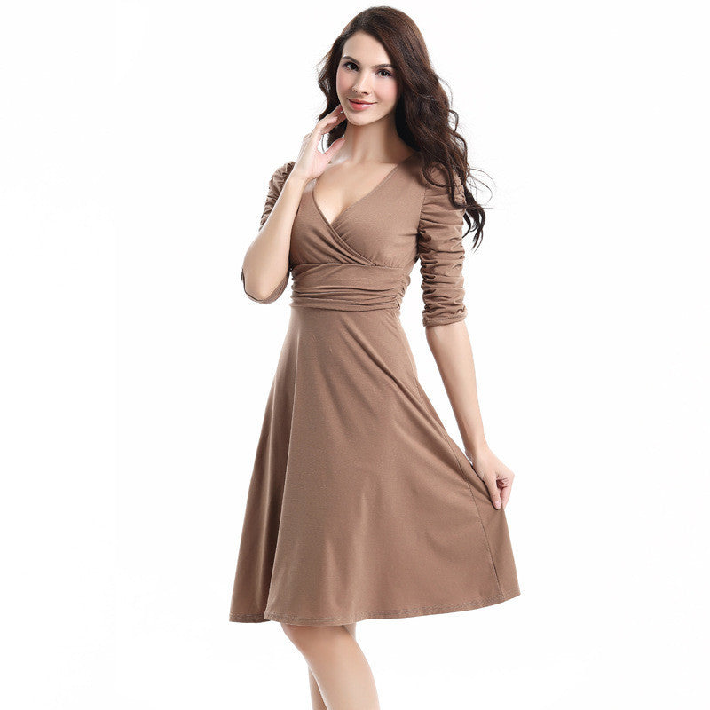 V-neck Ruched Empire Half Sleeves Knee-length A-line Dress - MeetYoursFashion - 11