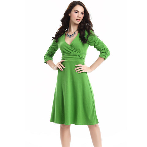 V-neck Ruched Empire Half Sleeves Knee-length A-line Dress - MeetYoursFashion - 14
