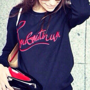 Letter Print Scoop Long Sleeves Sweatshirt Blouse - Meet Yours Fashion - 4