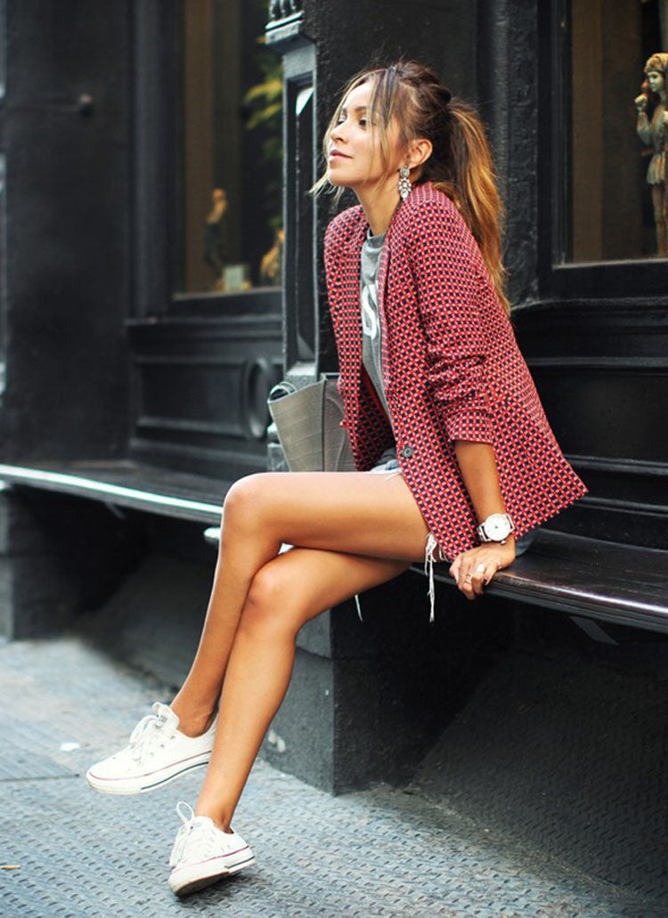 Red Plaid LapeL Long Sleeve Short Blazer Coat - Meet Yours Fashion - 4
