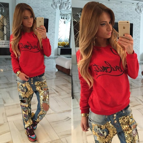 Letter Print Scoop Long Sleeves Sweatshirt Blouse - Meet Yours Fashion - 2