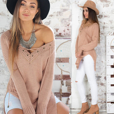 Leisure Pullover V-neck Knit Solid Color Sweater - Meet Yours Fashion - 4