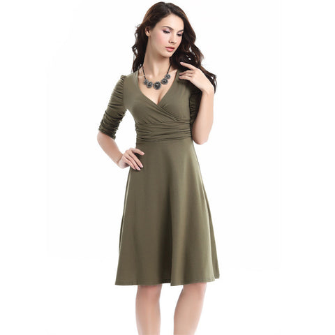 V-neck Ruched Empire Half Sleeves Knee-length A-line Dress - MeetYoursFashion - 12