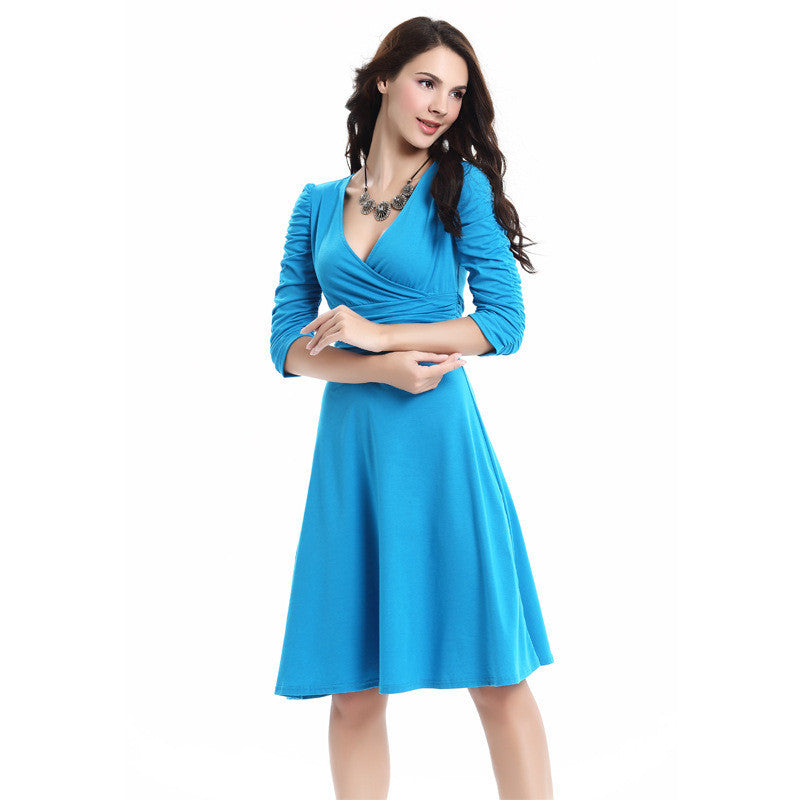 V-neck Ruched Empire Half Sleeves Knee-length A-line Dress - MeetYoursFashion - 13