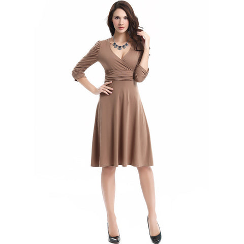 V-neck Ruched Empire Half Sleeves Knee-length A-line Dress - MeetYoursFashion - 18