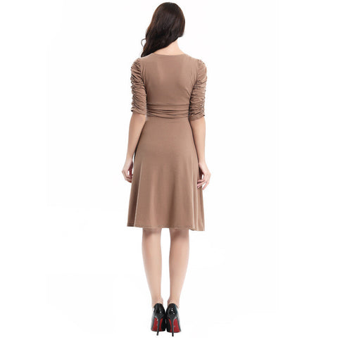 V-neck Ruched Empire Half Sleeves Knee-length A-line Dress - MeetYoursFashion - 19