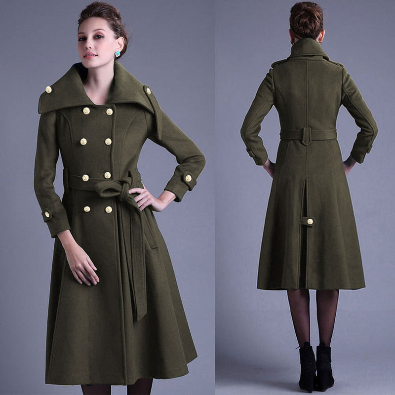 Stand Collar Button Belt Pleated Long Coat - Meet Yours Fashion - 4