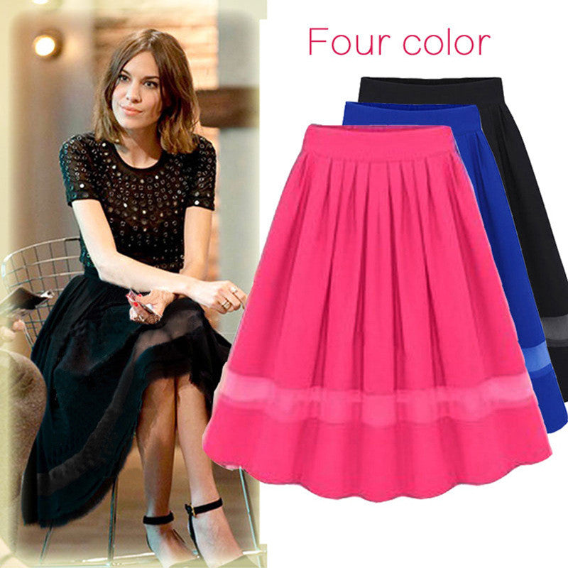 Chiffon Patchwork Pure Color Pleated Long Skirt