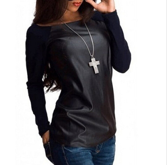 Pu Patchwork Scoop Long Sleeves Slim Blouse