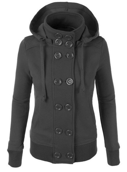 Double Button Hooded Long Sleeves Short Thick Coat