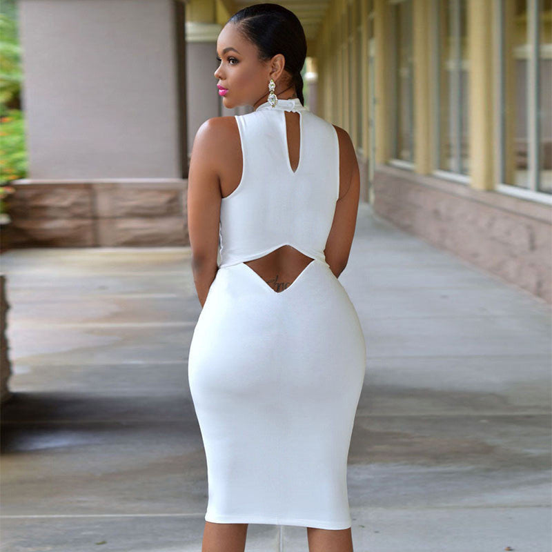 Solid Open Back Scoop Sexy Club Knee-length Dress - Meet Yours Fashion - 8
