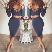 Bandage Crop Top and Bodycon Skirt Dress Suit - MeetYoursFashion - 6