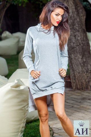 Asymmetric Casual Retro Long Solid Color Hoodie - Meet Yours Fashion - 4