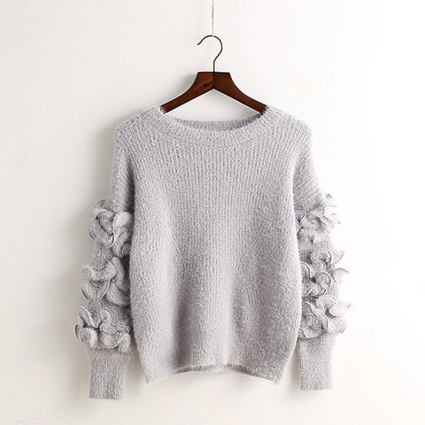 Petal Sleeve Embroidery Solid Color Pullover Sweater