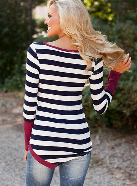 Striped Scoop Long Sleeves Patchwork Navy Irregular T-shirt - Meet Yours Fashion - 4