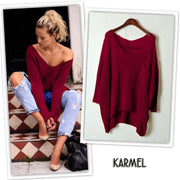 V-neck Asymmetric Solid Color Pullover Sweater - Meet Yours Fashion - 5