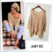 V-neck Asymmetric Solid Color Pullover Sweater - Meet Yours Fashion - 3