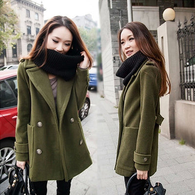 Double Breasted Lapel Solid Long Thick Coat - Meet Yours Fashion - 2